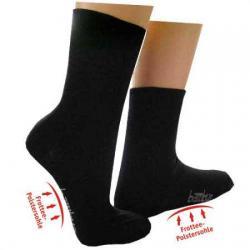 Bambus Socken schwarz mit Frottee-Polstersohle 43-46